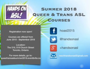Summer Queer & Trans ASL classes 2018