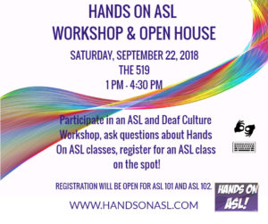 Hands On ASL Open House Sept. 22, 2018